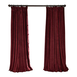 Exclusive Fabrics & Furnishings, LLC - Signature Burgundy Doublewide Blackout Velvet Curtain - 100% Poly Velvet. 3 Pole Pocket. Plush Blackout Lining . Imported. Dry Clean Only.