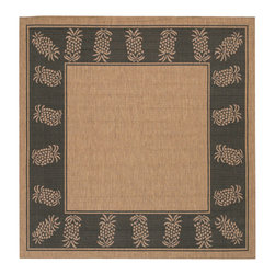 "Couristan - Recife Cocoa/Black Rug - 11772500, Size: 7'6"" x 7'6"" Square - Distinctively designed to complement the simple yet classic styling of outdoor furniture, uniquely colored to make stone entryways and patio decks warmer and more inviting, Couristan is proud to expand its popular outdoor/indoor area rug collection, Recife. Power-loomed of 100% fiber-enhanced Courtron polypropylene, this all-weather, pet-friendly, mold and mildew resistant area rug collection features a durable structured, flatwoven construction, which allows it to be suitable for indoor and outdoor use. The naturally inspired color palette offered in this versatile collection features a series of unique combinations of natural hues that have been selected to complement today's hottest outdoor home furnishings. Hosting a wide range of sizes including runners and special shapes in the form of rounds and squares, the Recife Collection has been designed to offer the perfect outdoor floorcovering solution for the home."
