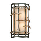 Troy Lighting - Troy Lighting B2882 Adirondack 2 Light ADA Compliant Flush Mount Wall Sconce - Bring the outdoors in with Troy Lighting�s 2-Light Adirondack Flush-Mount Wall Sconce. Inspired by the Adirondack Mountains, this distinct wall light features a half-cylinder natural linen diffuser enclosed by a handcrafted wrought iron Graphite frame and stylized silver-leaf branches. Its sophisticated styling and warm ambience make this ADA-compliant luminaire an excellent choice for both residential and commercial/hospitality lighting. Accommodates two 60-watt bulbs. This rustic wall sconce from the Adirondack Collection features hand-forged iron metalwork with branch-like decorative accents.Troy Lighting B2882 Features: