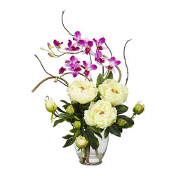 Nearly Natural - Peony and Orchid Silk Flower Arrangement - A perfect harmony of color and design. Brighten up any room or office space. Will look great for years to come. Construction Material: Polyester material, Iron wire, Glass, Resin, Bamboo. 19 in. W x 16 in. D x 21.5 in. H ( 4 lbs. ). Pot Size: 5.5 in. W x 7.5 in.HThis exquisite Peony and Dendrobium arrangement projects a perfect harmony of color and design. The bright, tasteful, and colorful weaving of different textures and flower types creates a splendor that's simply not found in a single species. Standing at over 21 inches high and set in a glass vase with liquid illusion faux water, this makes the perfect addition to any home or office, and also makes a great gift.