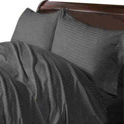 SCALA - 300TC 100% Egyptian Cotton Stripe Elephant Grey Olympic Queen Size Sheet Set - Redefine your everyday elegance with these luxuriously super soft Sheet Set . This is 100% Egyptian Cotton Superior quality Sheet Set that are truly worthy of a classy and elegant look. Olympic Queen Size Sheet Set Includes:1 Fitted Sheet 66 Inch(length) X 80 Inch(width) (Top Surface Measurement)1 Flat Sheet 96 Inch(length) X 104 Inch (width)2 Pillowcase 20 Inch(length) X 30 Inch(width)