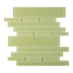Glass Tile Oasis - Tempo Random Bricks Green Piano Series Glossy Glass - During manufacturing, color is bonded to the back of the glass tiles. As a result, color may vary. Tiles should not be installed in areas exposed to direct sunlight as color will change.