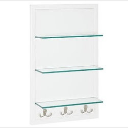 Modular Wall Glass Shelves with Hooks, White - Customize the perfect storage solution with our modular components. Each hardwood-framed piece is sized to fit easily in small spaces. Combine them to fill an entire wall. Finished in a moisture-resistant white painted finish. French cleat mounting system provides stability. Tempered-glass shelves. Medicine cabinet features a beveled mirror and two adjustable shelves. Cubby has two adjustable shelves. Open shelf unit has three fixed glass shelves and three double hooks. XL shelf has three fixed glass shelves and four double hooks. View our {{link path='pages/popups/fb-bath.html' class='popup' width='480' height='300'}}Furniture Brochure{{/link}}. Catalog / Internet only.