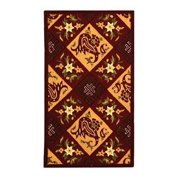 Safavieh - Burgundy Diagonal Print Rug (2 ft. 9 in. x 4 ft. 9 in.) - Size: 2 ft. 9 in. x 4 ft. 9 in. Hand hooked. Made of Wool. Diamonds and diagonal stripes bring a warm, country inspired spirit to this hand hooked wool runner rug. Perfect for a hall or entry, the rug is finished in burgundy and camel and features floral accents for added visual interest.