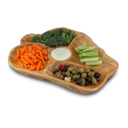 Enrico - Enrico Root Wood Large Appetizer Platter - Features: