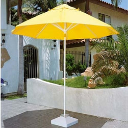 Fifthroom - 9' Octagon Remote Control Sunbrella Umbrella w/Aluminum Pole, Motorized Lift and - This umbrella offers the convenience of a remote controlled lift.  You can raise or lower the umbrella right from your home.  It is powered by a 12V rechargeable battery.  It is comes with an integrated base that doubles as a recharger .  All of this convenience, plus it's available in a variety of Sunbrella colors to fit any decor.
