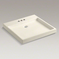 """KOHLER - KOHLER Purist(R) Wading Pool(R) above-counter/wall-mount bathroom sink with 4"""" c - Capturing the calm of a reflecting pool, the Purist Wading Pool sink offers sleek, angular lines and a shallow basin to transform your bathroom into a home spa environment. This fireclay sink adds a peaceful feeling to any bathroom with its minimalist sty"""