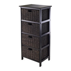 """Winsomewood - Omaha Storage Rack with 4 Foldable Baskets - Simple with plenty of storage for this Omaha storage rack with foldable baskets. Choose from 2, 3 or 4 baskets rack. Baskets open size is 13.98""""W x 10.63""""D x 7.48""""H and Folded size is 23.03"""" x 9.84"""" x 1.97"""". Overall 4 Baskets storage rack size is 16.73""""W x 12.40""""D x 36.81""""H and finished in Black color. Rack is made with combination of solid and composite wood. Basket is corn husk. Assembly require."""