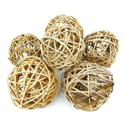 Set Of 6 Natural Willow Decorative Balls 3 1/2-4 Inch - This lot of 6 natural willow branch decorative balls is great for filling centerpiece bowls, apothecary jars or decorative vases. Made of wood and natural fiber rope, the balls vary in size from 3 1/2 inches in diameter to 4 inches, giving you some variety in your decorative look. They are lightweight and won`t decay like some naturals.