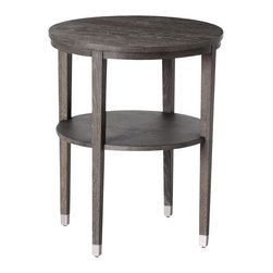 Arteriors - Gentry Side Table - Beautiful gray limed oak veneer lends this little round table a rustic charm, while the polished nickel feet add a subtle modern touch. This is a great option for contemporary styles that mix raw, natural materials with industrial touches. The second shelf is convenient for extra out-of-the-way storage that doesn't take up more space. Where couldn't you use a table like this?