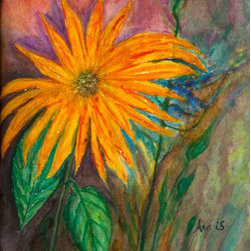 """Orange Flower"" (Original) By Ana Is De La Vega - This Painting Is An Impressive Orange Flower With A Very Nice Background"