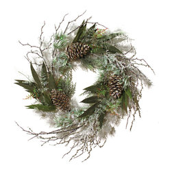 Wreath with Split Pine Cones and Iced Branches - I love this flocked wreath with its pops of green and beaded branches.