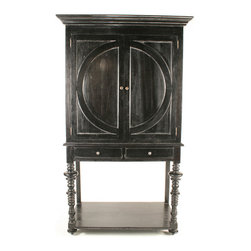 Ferret Wine Cabinet - Hand Rubbed Black - Store your collection of vintages near to hand, stylishly hidden behind the doors of the Ferret Wine Cabinet, a tall dining-room or living-room piece which would be appealing for its design alone but adds to the value of your space with a well-constructed storage interior.  Supported by lathe-turned legs with unusually wide and shallow elements for a spinning take on the traditional element, it has half-moon elements laid onto the doors.