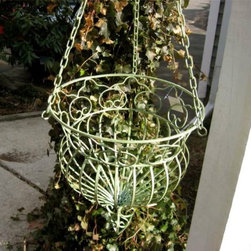 Hanging Planter Basket, Wrought Iron, Antique Green - This wrought iron plant basket would be charming on a porch. It has a wonderfully old-fashioned look.