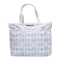 Ju Ju Be - Ju Ju Be Super Be Diaper Bag - Silver Ice - 12FF02A-SII - Shop for Diaper and Bottle Bags from Hayneedle.com! Elegance meets practicality in the Ju Ju Be Super Be Diaper Bag - Silver Ice. This extra-large tote features 12-inch straps for comfortable carrying of everything you could possibly need for a trip to the store the park or even the beach. It's big enough not only for diapers but toys books towels and your own personal electronics. The Super Be includes two interior mesh pockets and one extra-long zippered pouch a convenient key clip so you don't have to stand around digging for your keys three exterior pockets in the front and a large back pocket with snap closure. The outside is made from Teflon protected fabric in your choice of stylish pattern that will never stain and the light-colored lining features AgION natural antimicrobial treatment to reduce odor and fight mold mildew germs fungus and bacteria. The Ju Ju Be Super Be Diaper Bag measures 18W x 5.5D x 15H inches and is 100% machine washable. Additional Features Tote straps have a 12-inch drop Zippered closure keeps everything secure 2 interior mesh pockets 1 extra long interior zippered pockets Extra long key clip inside of the tote 3 exterior pockets on the front Large back pocket is perfect for folders and papers Teflon exterior means stains don't stick Lining kills germs mold mildew fungus and bacteria Shadow Waltz design Machine washable and air dry for your convenience About Ju-Ju-BeJu-Ju-Be was started by the dynamic duo of diaper bags. Why did they start up a whole new brand? Because despite the great fashion (and even some great features) of the other brands there were still some things lacking. No one had put to use the latest in technology. No one had successfully acted on the idea that fashion and function aren't mutually exclusive. No one else had delved into the deep realm of microbes and anti-stick coatings. Everyone else says that diaper bags aren't rocket science. Ju-Ju-Be 