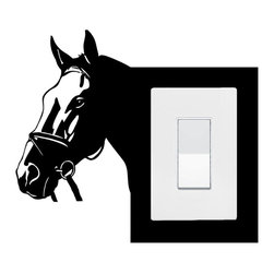 StickONmania - Lightswitch Horse #3 Sticker - A vinyl sticker decal to decorate a lightswitch.  Decorate your home with original vinyl decals made to order in our shop located in the USA. We only use the best equipment and materials to guarantee the everlasting quality of each vinyl sticker. Our original wall art design stickers are easy to apply on most flat surfaces, including slightly textured walls, windows, mirrors, or any smooth surface. Some wall decals may come in multiple pieces due to the size of the design, different sizes of most of our vinyl stickers are available, please message us for a quote. Interior wall decor stickers come with a MATTE finish that is easier to remove from painted surfaces but Exterior stickers for cars,  bathrooms and refrigerators come with a stickier GLOSSY finish that can also be used for exterior purposes. We DO NOT recommend using glossy finish stickers on walls. All of our Vinyl wall decals are removable but not re-positionable, simply peel and stick, no glue or chemicals needed. Our decals always come with instructions and if you order from Houzz we will always add a small thank you gift.