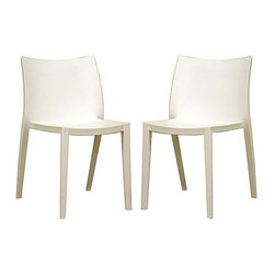Baxton Studio - White Accent/ Dining Chairs (Set of 2) - Complete your living or dining room with a set of two white modern chairs Furniture is made of heavy-duty white molded plastic Chairs can be used as accent or dining chairs
