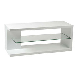 Eurostyle - Eurostyle Hilda Media Stand in White Lacquered w/ Glass Shelf - Media Stand in White Lacquered w/ Glass Shelf belongs to Hilda Collection by Eurostyle We've never seen this clever shape before. The Hilda Stand is almost four feet wide and makes a perfect base of operations for your home entertainment center. Actually it's pretty entertaining without the gear! Media Stand (1)