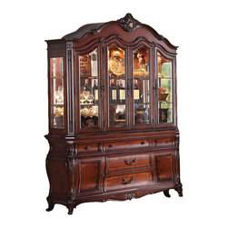 ACME - Acme Dorothea Buffet and Hutch in Cherry - This Dorothea Buffet and Hutch by Acme Furniture features elaborate carving and careful details, brings beauty reserved only for master dining room. Buffet and Hutch features some drawers, shelves and doors. It has a lot of space to storage.