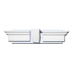 """Inviting Home - Richmond Window Trim Kit (large) - exterior window trim kit AWKX980 kit includes keystone and crosshead pediment - 60"""" to 80""""L x 9""""H x 4-1/2""""D Trim is lightweight durable and easy to install using common woodworking tools. Trim comes primed white and can be finished with any quality paints."""