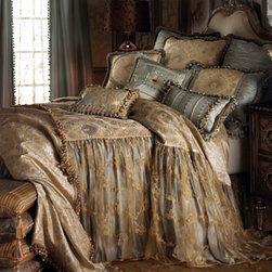 Sweet Dreams - Traditional Curtains - Inspired by romantic dreams of ball gowns and fairy tales, these linens by Sweet Dreams combine layers of color and texture to give luxury new depths. The petite floral medallion damask pattern of the blue and ivory silk coverlet is softened by an overlay of organza on the two-layer drop in your choice of lengths. A layered organza dust skirt with a 16 drop adds further fullness to the flounce, while pillows increase the decadence. Silk throw is 54 x 72. Rod-pocket blue silk curtains are lined and have onion-ball trim; specify Left or Right. They're layered over golden sheers with ribbon embellishments and rod pockets. Organza is polyester. USA/imported. Dry clean.