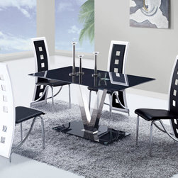 "Global Furniture - 5 PC Dining Set in Black with White Trim - 5 PC Dining Set in Black with White Trim; Set includes dining table and 4 side chairs; This contemporary glossy black table will compliment any dining room; It features a rectangular shaped tempered glass table top, V shaped silver legs and a glossy black base for an upgraded look.; The elegant design of these armless side chairs beautifully compliment the look of the dining table; These pieces not only boast a sophisticated, sleek look, but they are exceptionally comfortable as well.; Material Content: Glass/Stainless Steel table Legs, PVC/Metal chair Legs; Color: Black/White; Weight: 158 lbs; Dimensions: Table: 55""L x 34""W x 30""H; Chair: 17""L x 17""W x 44""H"
