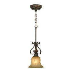 Golden Lighting - Golden Lighting 7116-M1L-LC Mayfair 1 Light Mini Pendant, Leather Crackle - Mayfair Mini Pendant in the Leather Crackle finish