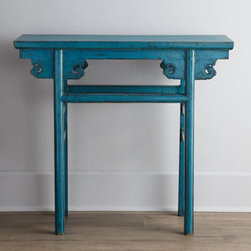 Horchow - Blue Antique Wooden Table - Unadorned except for a scrolled apron, this slender table adds a pop of color as well as storage or display space to any room. Its narrow profile makes it perfect for smaller spaces. From Shanxi, China, c. 1861-1891. Wood, with a blue finish. Approxi...
