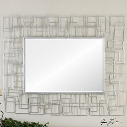 """Uttermost - Reena Metal Modern Mirror - Metal Rectangles Welded Together In A Random Pattern Finished In High Gloss Silver Leaf. Mirror Features A Generous 1 1/4"""" Bevel. Uttermost's Mirrors Combine Premium Quality Materials With Unique High-style Design. Overall Dimensions: 1.25""""D x 42.5""""W x 54""""H; Mirror/Glass Depth: 0.187""""; Mirror/Glass Width: 23.5""""; Mirror/Glass Height: 35.5"""""""
