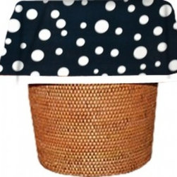 "Designerliners - Navy Polka Dot Waste Basket Bags   Decorative - Reusable - Biodegradable - 12 PK - Designerliners decorative waste basket bags enhance any room in your home that has a waste basket. Designerliners come packed ""inside out"" such that when placed inside a waste basket, the design shows on the inside of the container and then flows over the outer lip to form a beautiful outer border. Designerliners are made in the USA from strong 1 mil thick biodegradable plastic. Navy Polka Dot Designerliners measure 17.75 x 19 inches. Available in 12-packs and economy 100-packs."