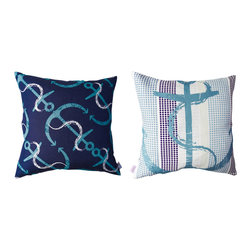Kaypee Soh - Anchor's Away Pillow - Midnight - Anchor's Away - From Cape Cod to Malibu, anchors are the quintessential sea inspired craze that will never go out of style.