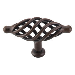 """Top Knobs - Large Oval Twist Knob 3 1/4"""" - Patina Rouge - Length - 3 1/4"""", Width - 1 1/8"""", Projection - 1 15/16"""", Base Diameter - 3/4"""""""