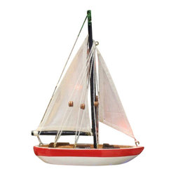 "Handcrafted Model Ships - Red, White and Blue Sailboat Christmas Tree Ornament 9"" - Nautical Ornament - Not a model ship kit"
