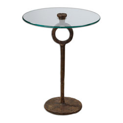 Uttermost - Diogo Glass Accent Table - This accent table is the perfect answer to your tough decorating problem — a small space. The cast iron base holds a beautiful tempered glass top and because it has such a light and airy footprint, it takes up no room. Invite a couple in, you'll see the light.
