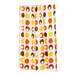 "Extra Long ""Madeline"" Fabric Shower Curtain - ""Madeline"" extra long 100% polyester fabric shower curtain, size 70"" wide x 84"" long. With its retro design and color scheme, our Extra Long ""Madeline"" Shower Curtain is sure to give your bathroom a welcome boost of fun. Specially designed here to fit shorter bathtubs or heightened showers (70'' wide x 84'' long), ""Madeline"" is 100% polyester, machine washable, and water resistant. For those with varying size needs, ""Madeline"" is available in standard. Also available separately is the coordinating ""Madeline"" window curtain.  Machine wash in warm water, tumble dry, low, light iron as needed"