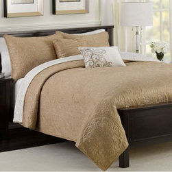 Sunham Home Fashions, Llc - Medallion Reversible Quilt Set in Taupe - Transform your bedroom into a beautiful, tranquil escape with the Medallion reversible quilt set. This gorgeous quilt features an exquisitely stitched medallion motif on a luxuriously soft quilted ground that reverses to a poly matte satin.