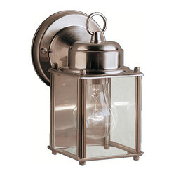 Kichler 1-Light Outdoor Fixture - Stainless Steel Exterior - One Light Outdoor Fixture. The one light new street wall lantern features a classic profile with sterling silver finish and clear glass panels. It uses a 60-watt bulb, measures 8 high, and is UL listed for wet location.