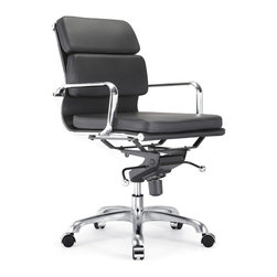 "Meelano - M345 Soft Pad Chair in Black - A comfortable seat is as good for your body as it is for your work, but a seat that's also stylish is good for the soul. Make something special out of an office necessity with this Eames-inspired ergonomic chair. Minimalist in design yet fully adjustable, this soft padded chair will add the necessary dose of ""ahh"" into your workday."