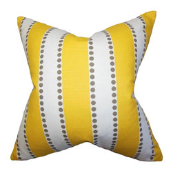 "The Pillow Collection - Odienne Stripes Pillow Yellow 20"" x 20"" - Complete the look of your living room or bedroom with this beautiful textured accent pillow. This brilliant throw pillow offers an exciting style with its bright yellow, gray and white hues. Alternating against each other in a vertical stripe pattern, this decor piece dresses up your bed or sofa in a fashionable manner. Constructed in the USA and 100% cotton-made. Hidden zipper closure for easy cover removal.  Knife edge finish on all four sides.  Reversible pillow with the same fabric on the back side.  Spot cleaning suggested."