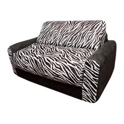 Fun Furnishings - Fun Furnishings Zebra Sofa Sleeper with Pillows in Black/ White - The sofa and chair sleepers are the perfect place to sit to read, watch TV or play a game. When it is time to take a nap or find a place for a little friend to spend the night, flip open the chair or sofa , add a blanket and pillow and you are all set. Grandparents love having one at their home too. Built-in durability. We've worked hard to make our furniture durable and help it retain its appearance. We use high-density foam to make the furniture hold up to the tough use it receives from kids. We include a layer of fiber on the seating surfaces to keep the fabric tight much longer.