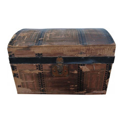 Primitive Doll Trunk - Beautiful antique doll's trunk that is filled with rustic charm. Originally made of wood with decorated paper as covering.
