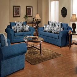 Chelsea Home Furniture - Liberty Marsha Tahoe Navy Chair - 3550-Ch - Liberty Collection Loveseat