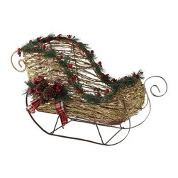 Home Decorators Collection - Decorative Sled - Our Decorative Sled is a beautiful, scaled-down rendition of Santa's sleigh. This colorful holiday decoration looks great on a table, or under the tree with presents. Crafted of wood materials and iron. Available in brown with glitter.