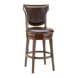 Hillsdale Furniture - Hillsdale Country Heights Swivel Bar Stool in Rustic Cherry - Hillsdale Furniture's country heights swivel stool has a sturdy base with gently flared legs. The back, like the seat, is covered in easy to care for faux leather. This handsome stool has a uniquely contoured back and a lightly distressed Rustic cherry finish. Exuding a rich ambiance and constructed of solid wood, this stool is a stunning addition to any kitchen or home bar area.