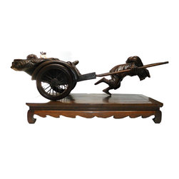 Chinese Rosewood Rickshaw The Rich Figure - This figure is carved from a Chinese rosewood - Huali which has nice natural wood pattern and color with dense texture. It is a scene of the rich and the poor comparison simply from a rickshaw. What an interesting piece!