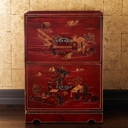 Horchow - Chinoiserie File Cabinet - Exclusively ours. A red Chinoiserie double-drawer wooden ...