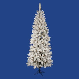 Vickerman Flocked Pacific Pre-lit Christmas Tree - Make this holiday all yours with the versatile size and design of the Vickerman Flocked Pacific Pre-lit Christmas Tree. This pre-lit, flocked tree features clear, Dura-Lit lights that are activated with a convenient foot switch. A dense configuration of tips creates the look and feel of a healthy adult tree, while each hinged branch also allows you to easily transport or store this holiday centerpiece. Take a look at the range of available sizes to pick the one that's right for you.Specifications for 4.5-foot tree Shape: SlimBase Width: 26 inchesNumber of Bulbs: 150Number of Tips: 162Specifications for 5.5-foot tree Shape: SlimBase Width: 30 inchesNumber of Bulbs: 200Number of Tips: 252Specifications for 6.5-foot tree Shape: SlimBase Width: 32 inchesNumber of Bulbs: 300Number of Tips: 306Specifications for 7.5-foot tree Shape: SlimBase Width: 36 inchesNumber of Bulbs: 400Number of Tips: 438Specifications for 8.5-foot tree Shape: SlimBase Width: 40 inchesNumber of Bulbs: 500Number of Tips: 606Don't Forget to Fluff!Simply start at the top and work in a spiral motion down the tree. For best results, you'll want to start from the inside and work out, making sure to touch every branch, positioning them up and down in a variety of ways, checking for any open spaces as you go.As you work your way down, the spiral motion will ensure that you won't have any gaps. And by touching every branch you'll create the desired full, natural look.About VickermanThis product is proudly made by Vickerman, a leader in high quality holiday decor. Founded in 1940, the Vickerman Company has established itself as an innovative company dedicated to exceeding the expectations of their customers. With a wide variety of remarkably realistic looking foliage, greenery and beautiful trees, Vickerman is a name you can trust for helping you create beloved holiday memories year after year.