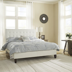 Sleep Sync - Sleep Sync Waverly Upholstered White Leather Platform Bed - The Waverly Platform Bed is upholstered with white faux leather and has a button tufted headboard. This platform bed is a modern and sophisticated option for the bedroom,and is the perfect complement for any bedroom set.