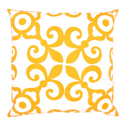 """Allem Studio - Allem Studio Morocco Euro Pillow Sham Set - Bright and inviting, Allem Studio's Morocco euro shams delight with a global-inspired look. This modern set's maze-like pattern is finished with clean knife edges. 26""""W x 26""""H; Set of 2; 100% cotton; Lemon yellow and white; Hand screened; Hidden zipper closure; Pillow inserts not included; Machine wash"""
