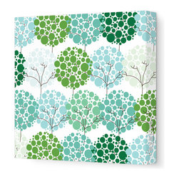 "Avalisa - Imagination - Park Stretched Wall Art, 28"" x 28"", Green - To inspire your little one's imagination and encourage his love of nature, simply hang this stretched wall art in his favorite space. Delicate trees with bubbly blooms are guaranteed to bring smiles and sweet daydreams."